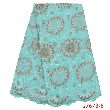 High Quality Swiss Voile Lace 2019 African Voile Swiss Lace Fabric African Swiss Cotton Voile Lace Fabric For Clothe QF2767B-7