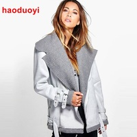 HDY Haoduoyi Europe And American Handsome Warm Winter Jacket Women Solid Color Thick Coat Zipper Buckle