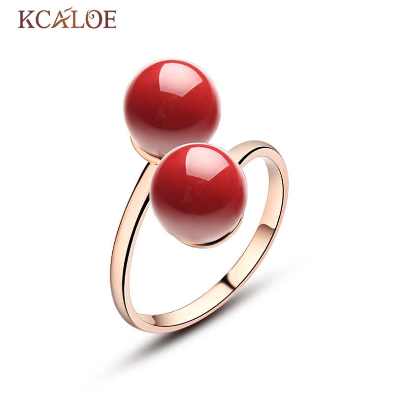 KCALOE Natural Double Ball Ring Adjustable Open Anel Feminino Rose Gold Color Red Artificial Coral Stone Jewelry Rings Aneis