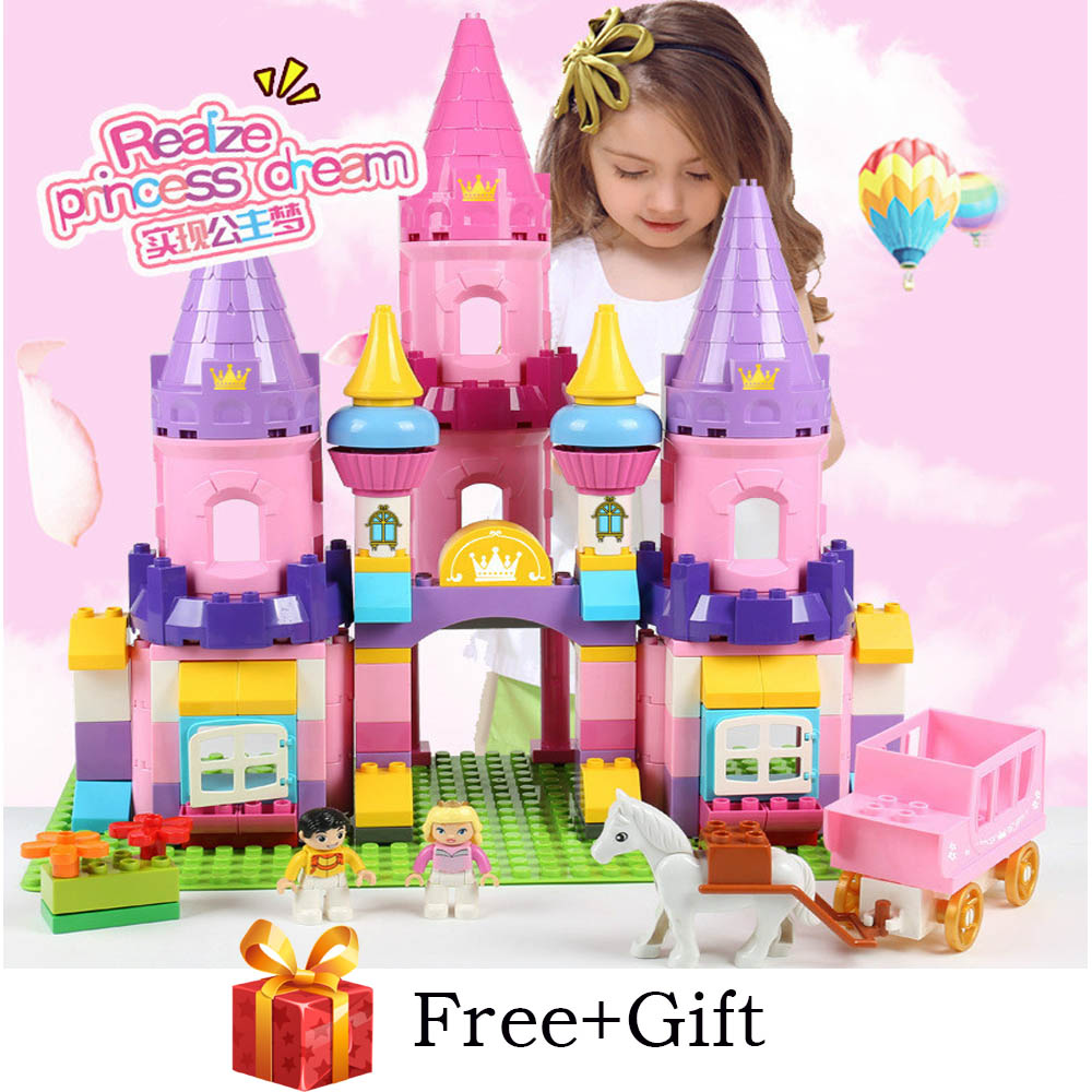109PCS Girls Princess Castle Building Blocks Sets Compatible LegoING Duplo Horse Friends Figures Creator Bricks Toys for Girls109PCS Girls Princess Castle Building Blocks Sets Compatible LegoING Duplo Horse Friends Figures Creator Bricks Toys for Girls