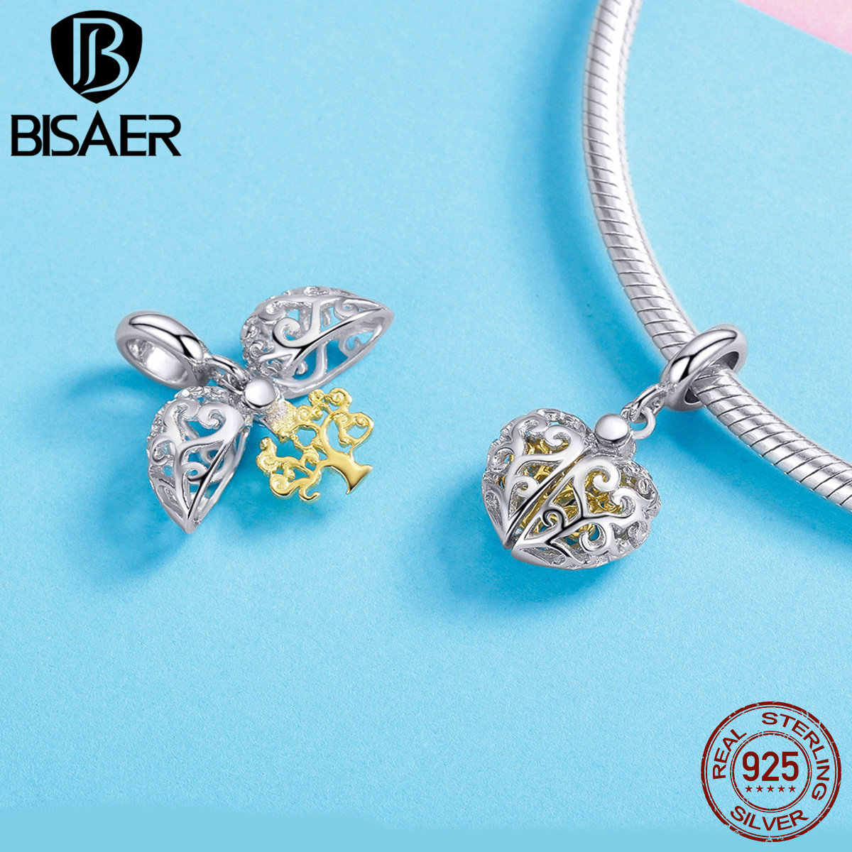 BISAER 925 เงินแท้ TREE OF LIFE SILVER DANGLE จี้ Beads Fit Charms สร้อยข้อมือ Zircon เงิน 925 เครื่องประดับ WEUS306