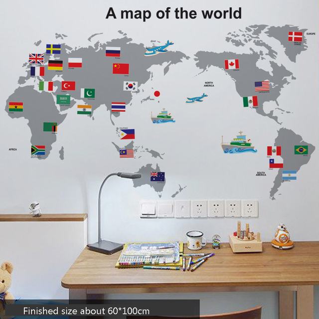 Elegant Aqumotic Childrenu0027s Room Sticker Wall World Map Flag Stickers Animal  English Letter Cute Map 1pc Big