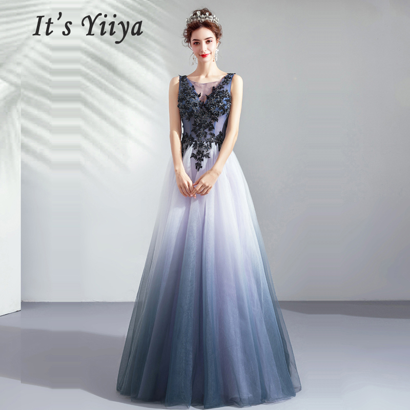 C'est Yiiya Robe De soirée en cristal Robe De soirée sans manches femmes robes De soirée 2019 longue grande taille bateau cou robes De soirée E653