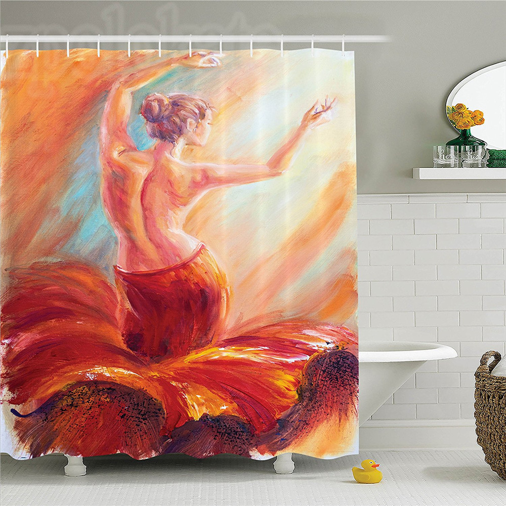 Home & Garden Shower Curtains Fabric Shower Curtain With Hooks Action Ballerina Dancing Ballet Dying Swan Lake Dancer Watercolor Painting White Dance