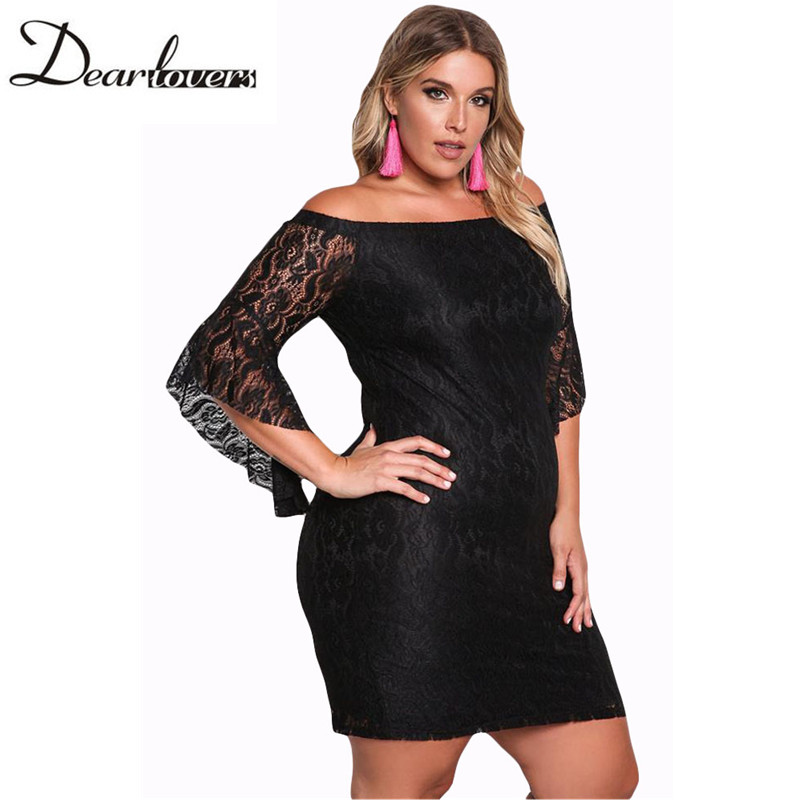Dear Lover Autumn 2017 Women Dresses Plus Size Black Slash