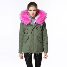 high quality Beading rose red raccoon fur collar hooded jacket winter women short parka  pink fur inside coats