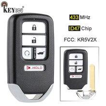 Keyecu 433mhz id47 chip fcc: substituição kr5v2x 4 + 1 5 botão inteligente remoto chave fob para honda piot CR-V civic 2016 2017 2018 2019
