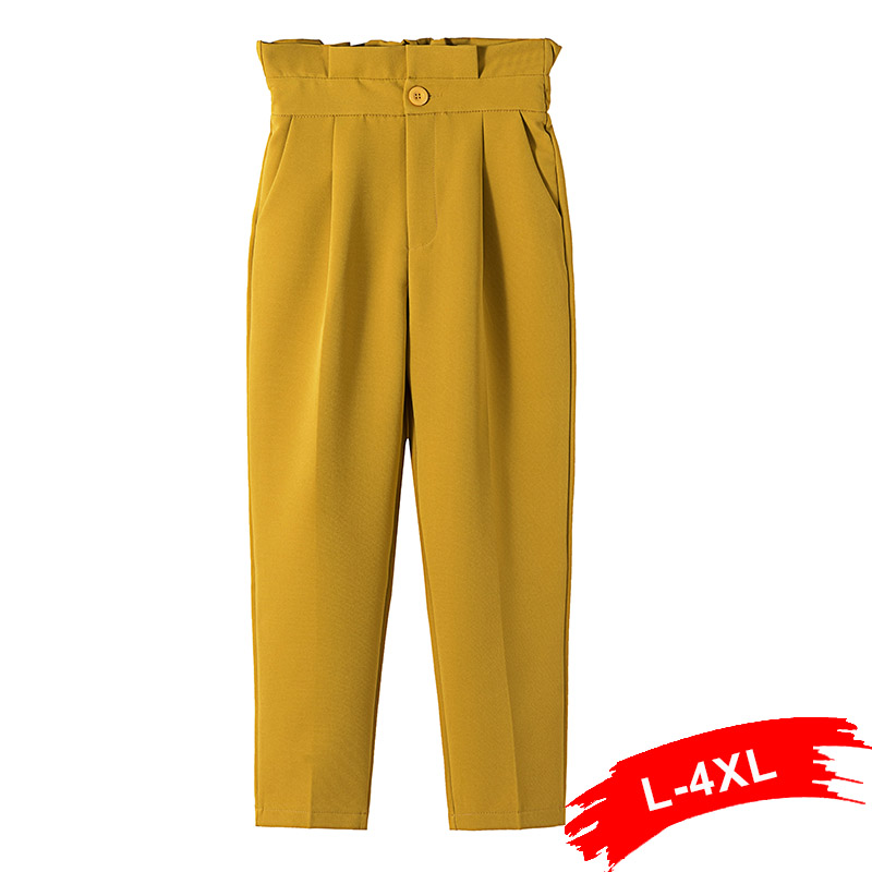 Plus Size Belted Frilled Waist Elegant Solid Ankle Length   Pants   4Xl 3Xl Office Lady Wear Trousers Button Fly   Capris   Pantalones