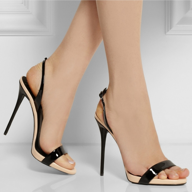 4f7a33fb702b Black and Nude Simple Women Sandal One Straps Made-to-order Plus Size 14  Ladies Shoes High Heels Real Image Handmade Open Toe