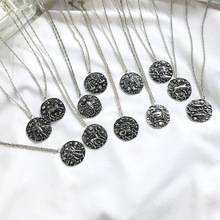 Zodiac Sign 12 Constellation Choker Pendant Necklaces Antique Silver Women Jewelry Korean Fashion Statement Neck Accessory