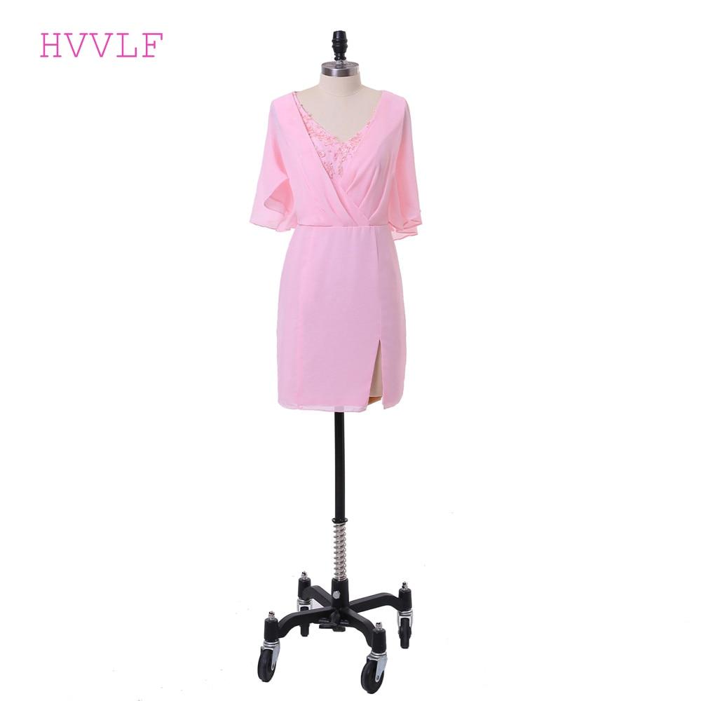 Pink 2019 Elegant Cocktail Dresses Sheath V-neck Half Sleeves Short Mini Chiffon Appliques Lace Party Homecoming Dresses