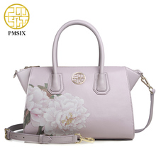 Pmsix 2017 Autumn Winter New Fashion Women Leather Handbags Split Leather Lotus Printing Ladies Crossbody Shoulder