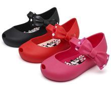 Melissa Bowtie Mini Shoes Summer Minnie Jelly Shoe Girl Non-slip Kids Toddler Beach Sandals Cute Little