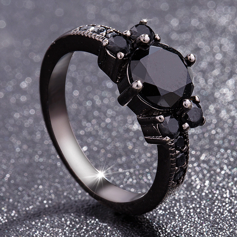 Black 14k Obsidian Diamond Rings Woman Peridot Mystic Gemstone Bizuteria Anillos De Jewelry for Charm Couple Diamante Rings 2019 broad paracord