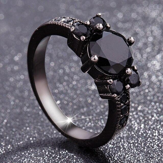 สีดำ 14K Obsidianแหวนเพชรผู้หญิงPeridot MysticอัญมณีBizuteria Anillos Deเครื่องประดับCharmคู่Diamanteแหวน 2019