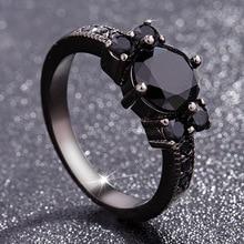 Black 14k Obsidian Diamond Rings Woman Peridot Mystic Gemstone Bizuteria Anillos De Jewelry for Charm Couple Diamante Rings 2019