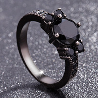 Black 14k Obsidian Diamond Rings Woman Peridot Mystic Gemstone Bizuteria Anillos De Jewelry for Charm Couple Diamante Rings 2019