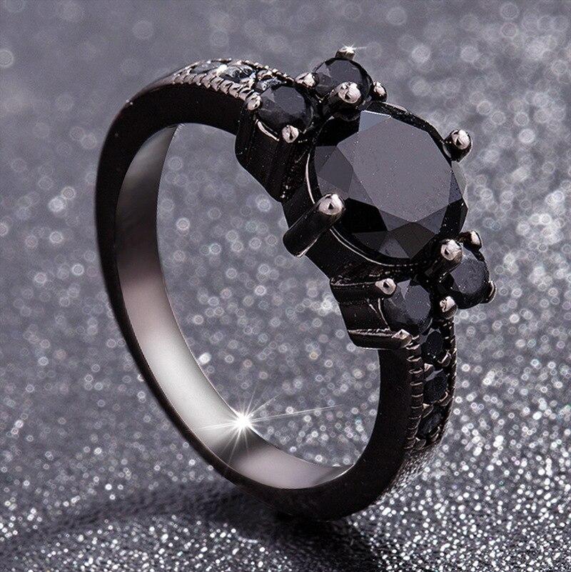Noir 14k obsidienne diamant anneaux femme péridot mystique pierre gemme Bizuteria Anillos De bijoux pour breloque Couple Diamante anneaux 2019