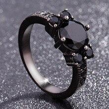 Schwarz 14k Obsidian Diamant Ringe Frau Peridot Mystic Edelstein Bizuteria Anillos De Schmuck für Charme Paar Diamante Ringe 2019