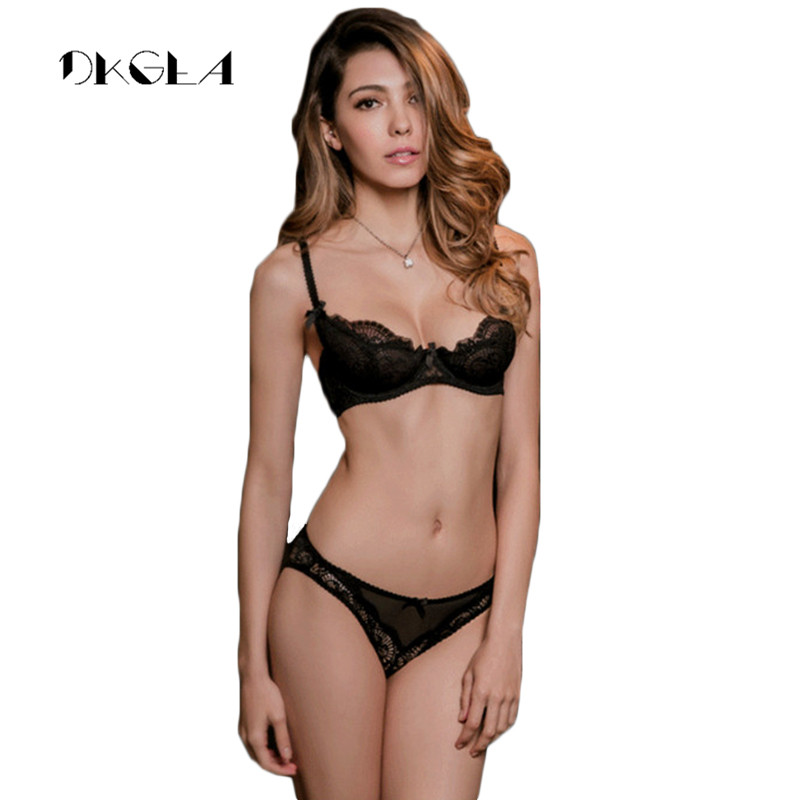 White Lace Bra Set 1/2 Cup Hollow Out Brassiere See Through Bra Transparent Lingerie Women Plus Size Sexy Underwear Sets 2