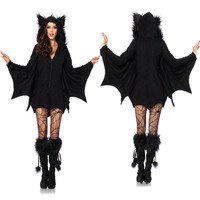 Halloween Women Cosplay Vampire Bat Costumes Party Cosplay Battman Jumpsuit Outfit Hoodies Adult