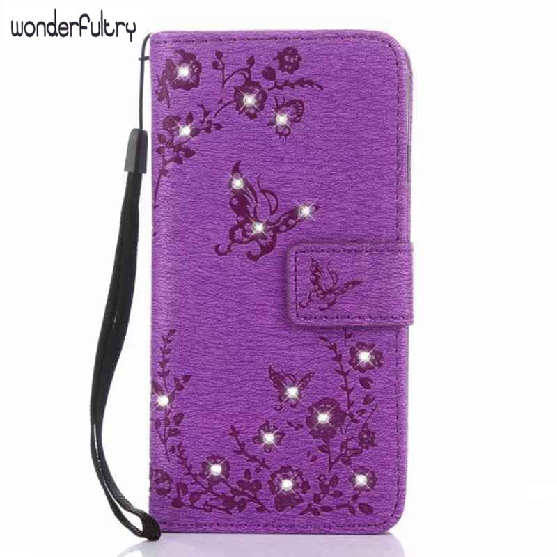 For iPhone 7 6 5 Cover Imprinted Butterfly Flowers Rhinestone Leather Wallet Card Stand Case For Galaxy A3 A5 A7 2017 S7Edge S8