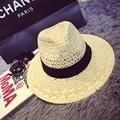 Nuevo estilo de sombreado sombrero de paja para las mujeres de moda de verano elegante tapa de paja floppy Ala Ancha sombreros sol chapeau 2016052303 u2