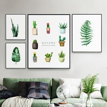 Современные холщовые постеры с зелеными растениями, печать, металлическая фоторамка, настенное художественное изображение, Скандинавская