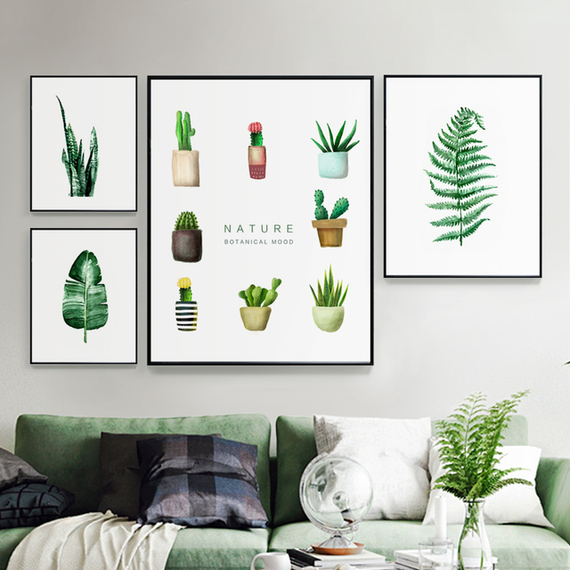 Modern Green Plants Leaf Canvas Posters Print Metal Photo Frame Wall ...