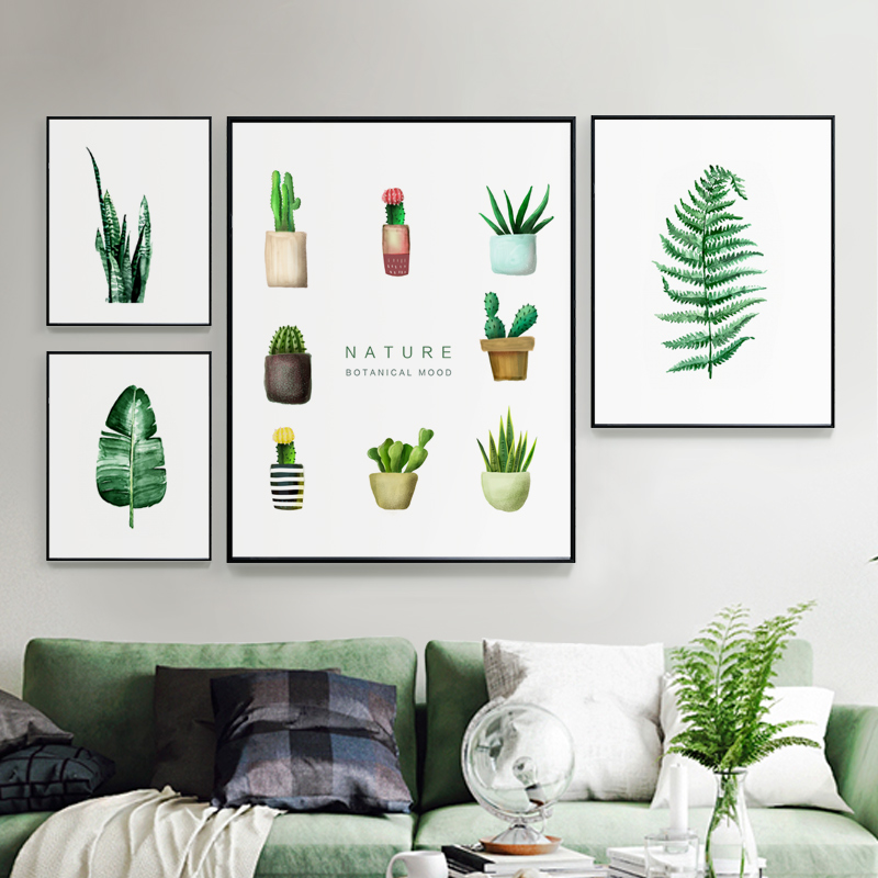 Modern Green Plants Leaf Canvas Posters Print Metal Photo Frame Wall Art Picture Nordic Home Deco Frame Painting Crafts Pictures