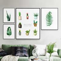 Modern Yeşil Bitkiler Yaprak Tuval Posterler Baskı Metal Fotoğraf ahşap çatkı duvar sanat resmi İskandinav Ev Deco Çerçeve Boyama El Sanatları Resimleri
