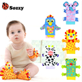 Sozzy 1 Pair Soft Baby Wrist Strap Socks Rattle Toy Cute Cartoon Garden Bug Plush Rattle with Ring Bell 0M+