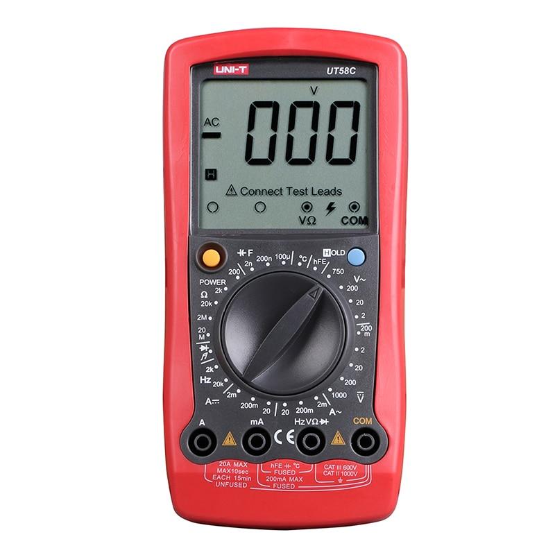 все цены на UT58C Digital Multimeter Ammeter Ohm Volt Meter Capacitance Temperature Digital Universal Meter LCD Count 1999 AVO Meter UNI-T онлайн