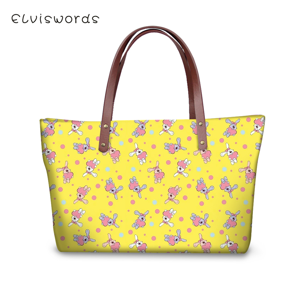 ELVISWORDS Luxury Handbag Women Bags Designer Floral Birds Print Pattern Woman Clutch Kawaii Animal Girls Fashion Totes Handbags in Top Handle Bags from Luggage Bags