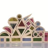 سوبر الإبداعي الاكريليك قوس قزح برج كومة من اللبنات التعليمية لعبة للأطفال diy خشبية تجميع بنة