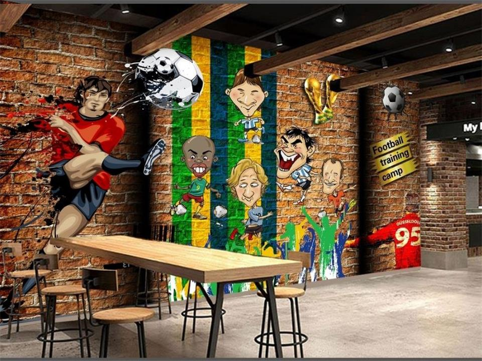 Custom 3D Photo Wallpaper Non-Woven Mural Room Football Cartoon Character Photo Gym KTV Bar Background Wall Wallpaper Home Decor free shipping hepburn classic black and white photographs women s clothing store cafe background mural non woven wallpaper