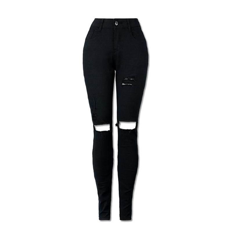 2017 New Fashion Skinny Black High Waist Jeans Wowan Plus Size XXL Hole Ripped Jeans For Women Denim Pants Jeans Femme plus size short sleeve floral print maxi dress