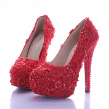 Sparkling Vogue Women Wedding Shoes for Bride Elegant Red Lace Bridal Dress Shoes Glitter Platform High Heel Bridal Shoes