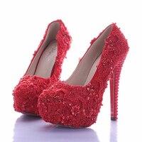 Vogue Mujeres brillantes Zapatos de Novia de La Novia Elegante Vestido de Novia de Encaje Rojo Del Brillo Plataforma de Tacón Alto Zapatos de Novia