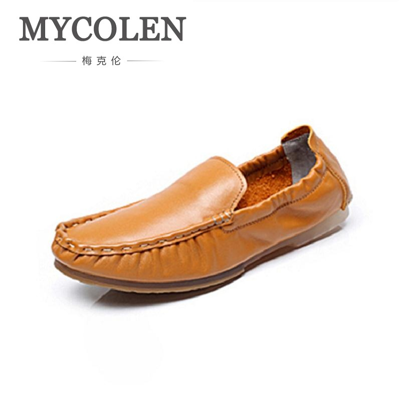 MYCOLEN Men's Casual Shoes Real Leather Men Flat Shoe Slip On Male Loafers Moccasins Man Boat Shoes Soft Driving Man's Footwear mapleliz brand breathable slip on solid moccasins shoes for men full grain leather high quality driving soft flat men shoes