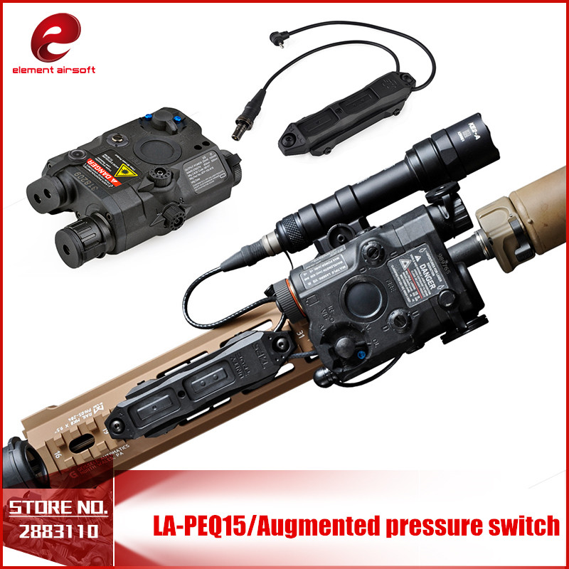 Element Airsoft LA PEQ15 Red Dot Tactical Light PEQ Red Laser Tactical Remote Switch Augmented Pressure Light Double Control element ex276 peq15 battery case military high precision red dot laser integrated with led flashlight red laser and ir lens