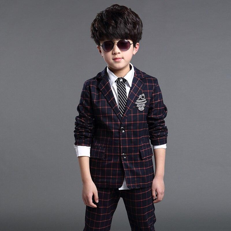 Toddler Boys Clothing 2017 New Brand Boys Clothes Plaid Blazers Sets Owl Armband Big Boys Clothes Sets Top Jackets + Pants 2PCS