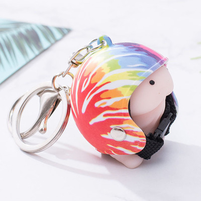 Cute Squishy Ding Ding With Helmet Keychain Dingding Tintin Key Ring Pendant Novelty Penis Adults Anti-Stress Squishy Toy