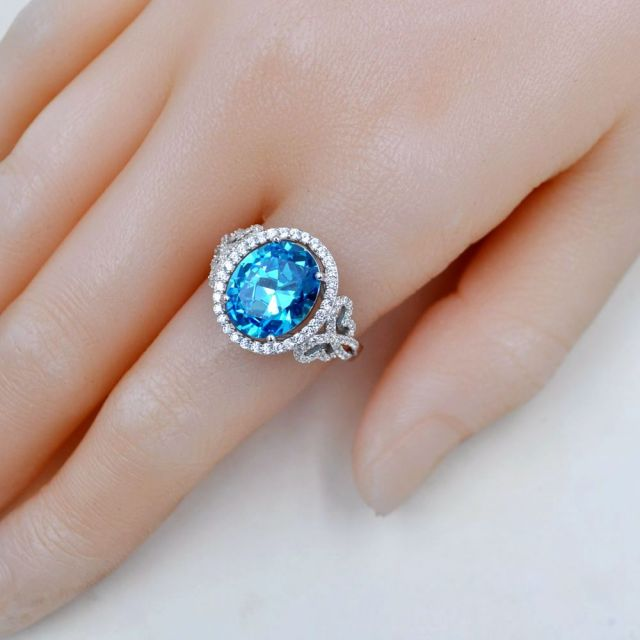 JQUEEN Oval Natural Sky Blue Topaz Ring Solid 925 Sterling Silver Rings For Women Charms Fashion Wedding Jewelry With Gift Box