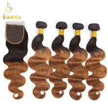 airUGo Hair Pre -colored mbre Hair Weave 4 Bundles with Closure #1B/30 Body Wave Non-Remy Human Hair Bundles With Closure