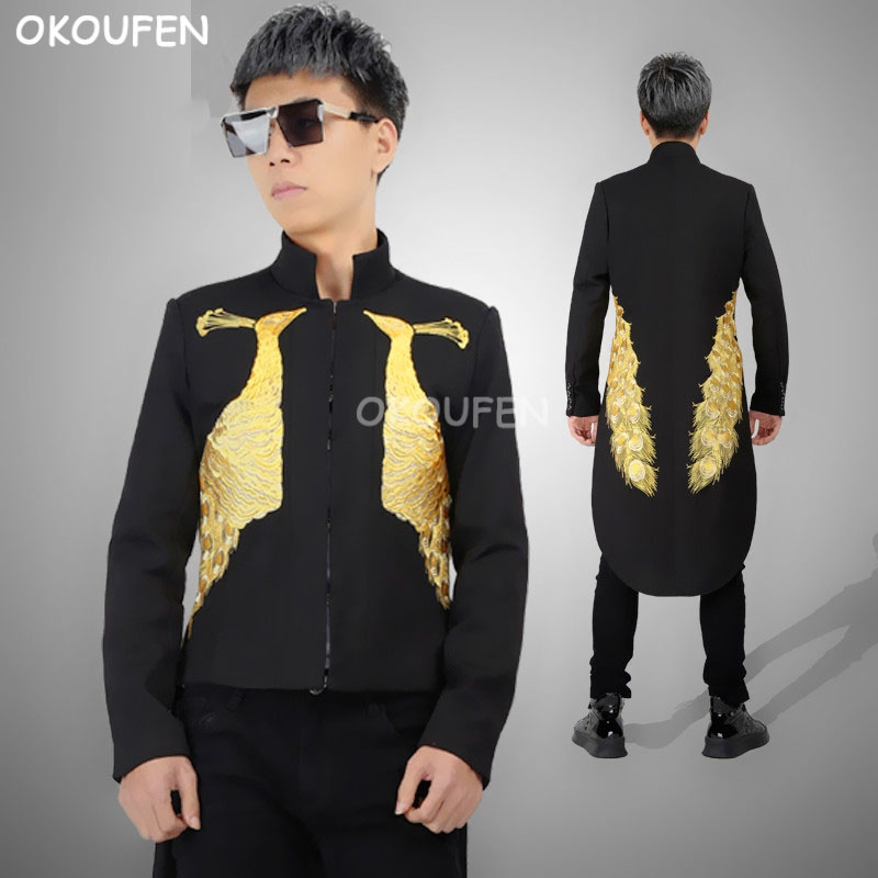 Personality Gold Peacock Embroidery Tuxedo Suit Male Model Singer Show Stand Collar Long Windbreaker Banquet Court Dress Costume