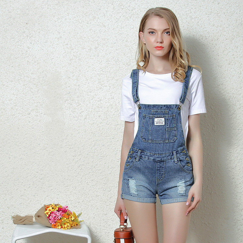 b7e0a1cc2f0f Detail Feedback Questions about Ejqyhqr Womens Denim Overalls Summer Jumpsuits  Rompers Casual Strap Hole Ripped Pockets Slim Curling Shorts Jeans Coverall  ...