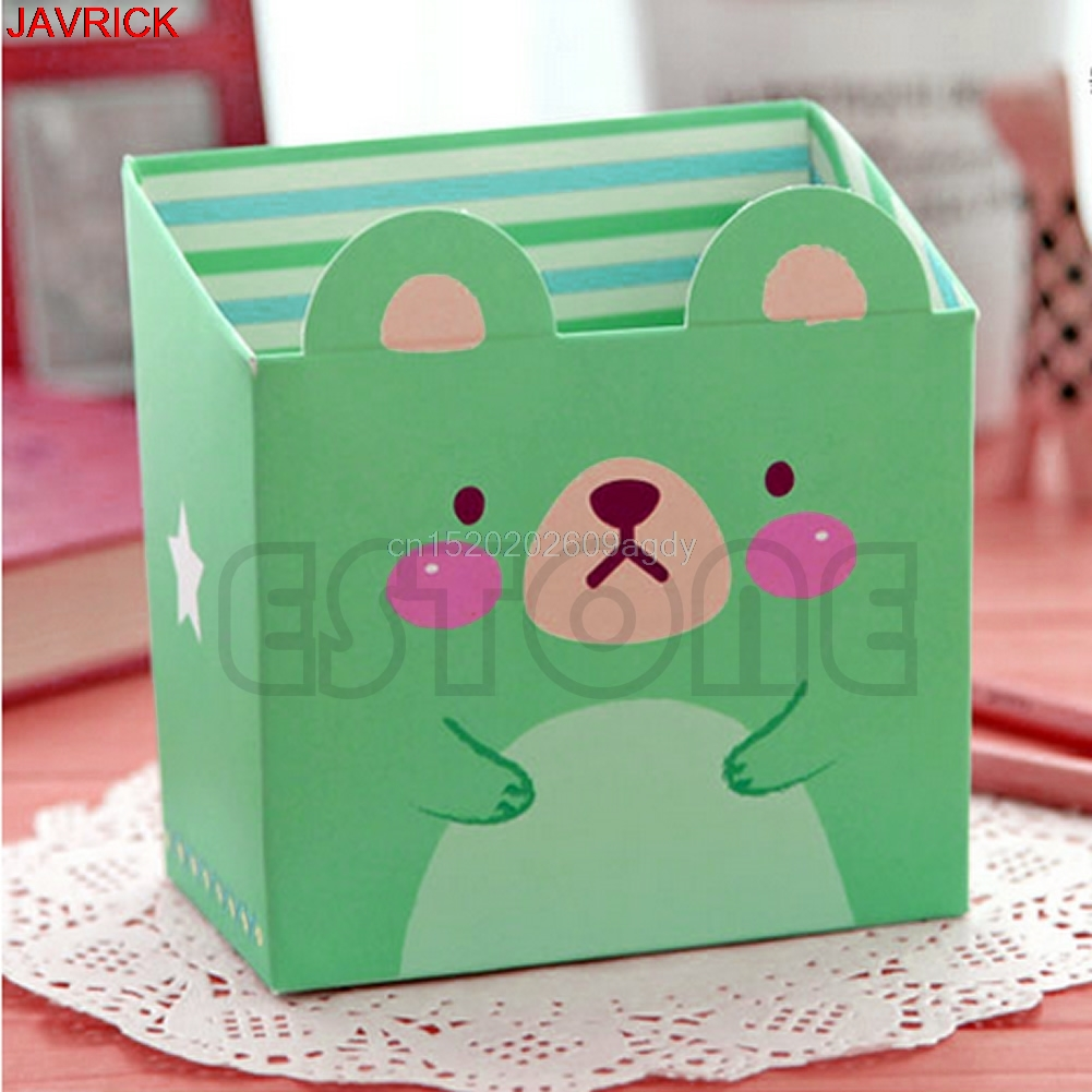 Cute Cat Cartoon Paper Stationery Makeup Cosmetic Desk Organizer Storage Box DIY #H058#