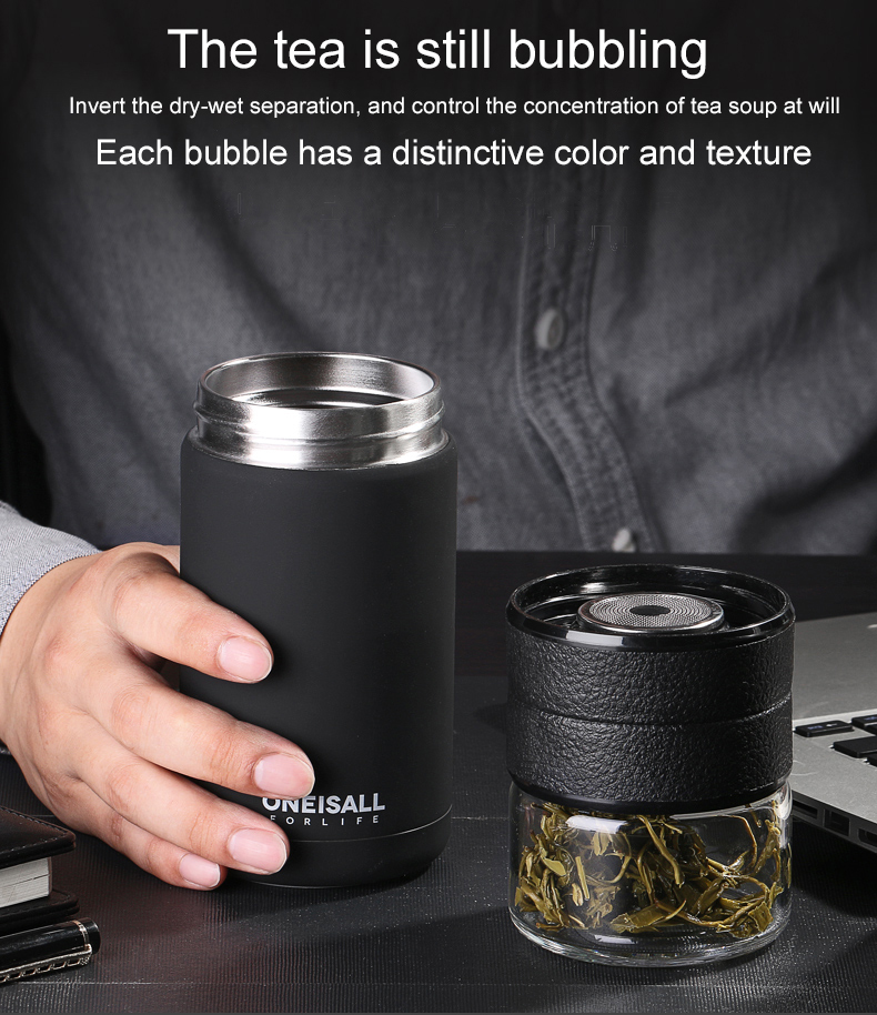 HTB1HXHyNMHqK1RjSZJnq6zNLpXae Thermos Bottle Stainless Steel Tea Partition Thermo Cup Glass Tea Strainer Thermos Mug Bottle Vacuum flask Bottles 400ml + 200ml