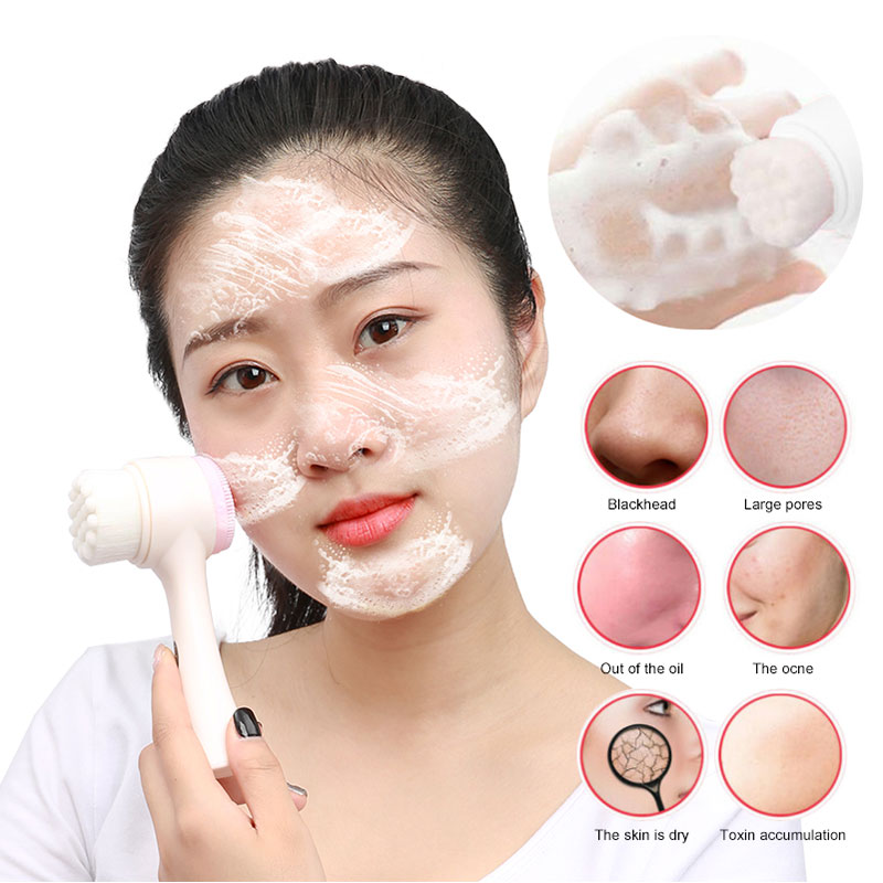 Cofoe Double Side Silicone Facial Cleanser Brush Portable Deep Cleansing Face Manual Washing Brush Face Massage Skin Care Tool